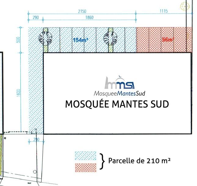Plan parcelle terrain mosquee mantes sud