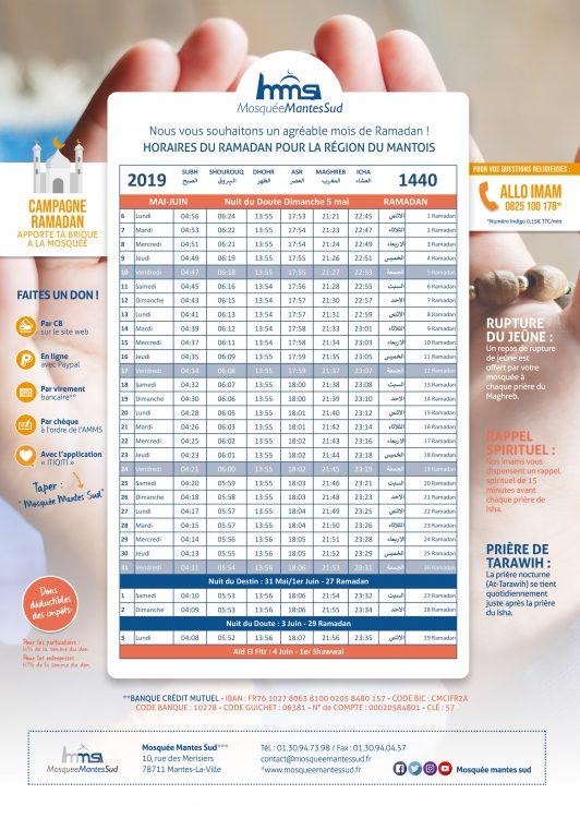 Calendrier des horaires de prière du ramadan